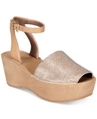 Kenneth Cole Reaction Dine With Me Wedge Sandals Rose Gold