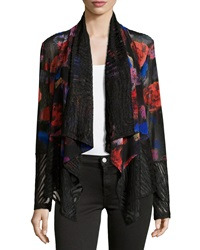Alberto Makali Printed Lace Open Front Cardigan Red