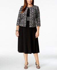 Jessica Howard Plus Size Printed Sequin Jacket And Dress