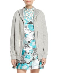 Michael Kors Zip Front Cashmere Hoodie With Embellished Cords Gray