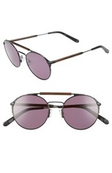 Shwood Bandon 52Mm Round Sunglasses Black Walnut Grey Black Walnut Grey