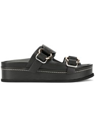 3.1 Phillip Lim Freida Double Buckle Platform Slide Black
