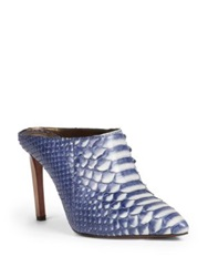 Lanvin Python Point Toe Mules Blue