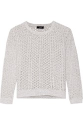 Theory Krezia Open Knit Cotton And Linen Blend Sweater White
