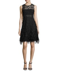 Elie Tahari Anabelle Sleeveless Lace Feathered A Line Dress Black