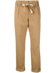 Dorothee Schumacher Belted Straight Trousers Women Cotton Polyester Spandex Elastane 5 Brown