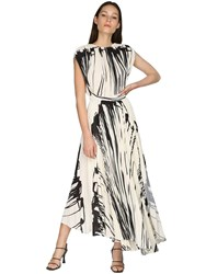 Proenza Schouler Pleated Print Crepe Wrap Around Dress Ecru