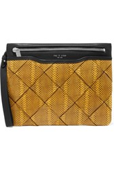 Rag And Bone Woven Snake Effect Leather Clutch Mustard