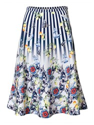 East Fabiola Floral And Stripe Print Skirt Ink Multi