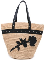 Sonia Rykiel By Woven Floral Tote Women Leather Cana Flecha Metal One Size Nude Neutrals