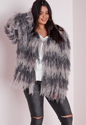 Missguided Plus Size Grey Stripe Short Fine Hairy Cardigan Grey
