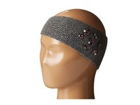 Lauren Ralph Lauren Jewel Encrested Waffle Stitch Headband Dark Grey Heather Smoke And Amethyst Headband Gray