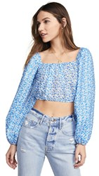 C Meo Collective Come Across Top Light Blue Floral