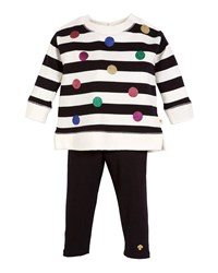 Kate Spade Striped Sequin Dot Sweatshirt W Solid Leggings Multi