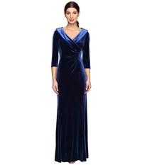 Tahari By Arthur S. Levine Stretch Velvet Portrait Collar Gown Midnight Blue Women's Clothing