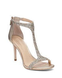 Imagine Vince Camuto Phoebe Glitter T Strap High Heel Sandals Crystal Soft Gold