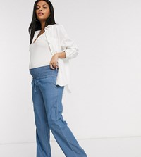 Mamalicious Maternity Denim Trousers With Wide Leg In Blue