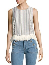 Lucca Couture Fringe Shell Top Blue Multi