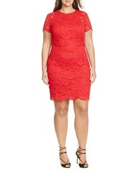 Lauren Ralph Lauren Plus Short Sleeve Scalloped Lace Sheath Dress Red