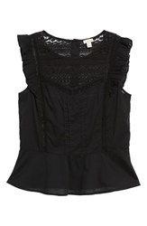 Hinge Mixed Lace Peplum Top Black