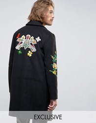Reclaimed Vintage Overcoat With Floral Patches And Back Patch Black
