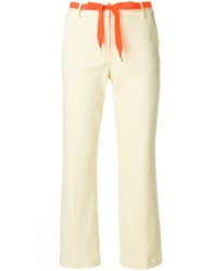 Department 5 Contrast Belt Straight Trousers Nude And Neutrals