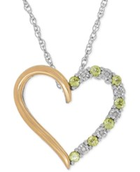 Macy's Peridot 1 3 Ct. T.W. And Diamond Accent Heart Pendant Necklace In Sterling Silver And 14K Gold Two Tone