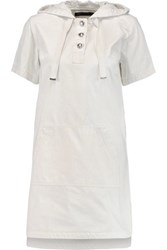 Marc By Marc Jacobs Cotton Twill Hooded Mini Dress Off White