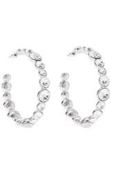 Kenneth Jay Lane Silver Tone Crystal Hoop Earrings One Size