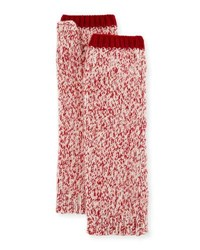 Sofia Cashmere Marled Fingerless Gloves Arm Warmers Red