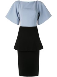 Christian Siriano Formal Peplum Tube Dress Blue
