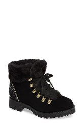 Jack Rogers Charlie Faux Shearling Lined Bootie Black Tweed Fabric