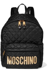 Moschino Appliqued Quilted Shell Backpack Gold