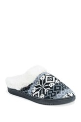 Muk Luks Patterned Knit Faux Fur Lined Clog Black
