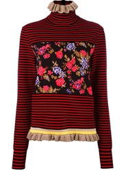 Msgm Floral Striped Pullover Red