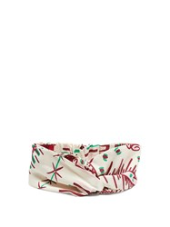 Valentino Graphic Print Silk Headband White Multi