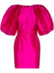Ronald Van Der Kemp Volume Sleeve Silk Mini Dress Pink