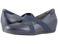 Softwalk Waverly Dark Blue Metallic Leather Women's Dress Flat Shoes
