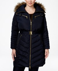 Michael Kors Plus Size Faux Fur Belted Puffer Coat Navy