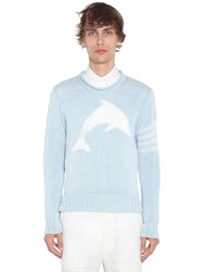 Thom Browne Dolphin Cotton Intarsia Knit Sweater Light Blue