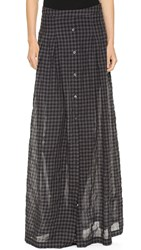 Tess Giberson Long Skirt With Placket Charcoal Gingham