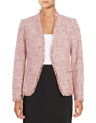 Ivanka Trump Tweed Open Front Blazer Red