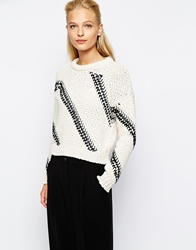 Mango Geo Cable Drop Sleeve Jumper Offwhite
