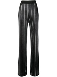 Balmain Striped Lurex Trousers Black