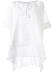 Megan Park Embroidered Loose Fit Tunic White