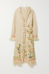 Loveshackfancy Valencia Fringed Embroidered Knitted Cardigan Beige