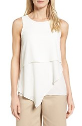 Vince Camuto Women's Tiered Asymmetrical Blouse New Ivory