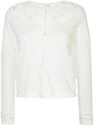 Giambattista Valli Open Embroidery Cardigan White
