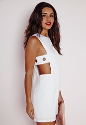 Missguided Eyelet Cut Out Side Shift Dress White White