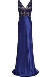 Catherine Deane Woman Olivia Embroidered Tulle And Satin Paneled Gown Royal Blue